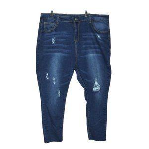 Plus size 3XL Distressed Raw Hem Skinny Jeans